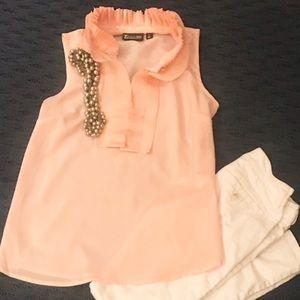 Tops - New York & company blush pink, ruffle blouse